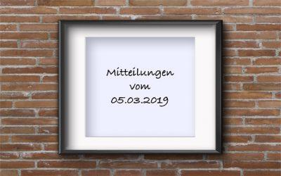 Mitteilungen vom 05.03.2019