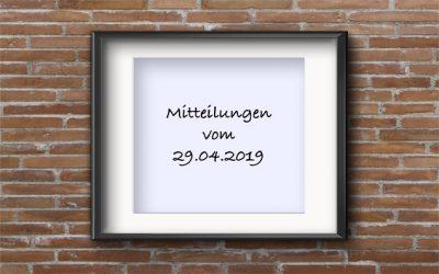 Mitteilungen 29.04.2019