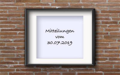 Mitteilungen 30.07.2019